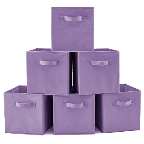 EZOWare Set of 6 Basket Bins Collapsible Storage Organizer Boxes Cube For Nursery Home - Purple