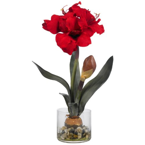 Amaryllis w/Round Vase Perfect Natural Artificial Flowers (Amaryllis Garland)