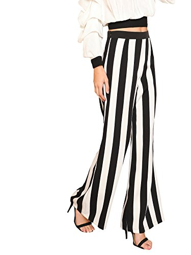 MakeMeChic Women's Striped Belted Wide Leg Cropped Palazzo Pants 1-Black L
