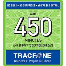Tracfone 450 Minute Prepaid Card, used for sale  Delivered anywhere in USA