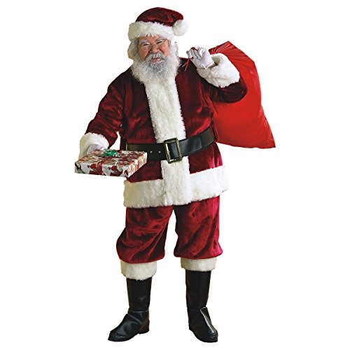 MutterMui Crimson Regency Plush Santa Suit Claus Costume Christmas Fancy Dress X-Large (Regency Suit Santa)