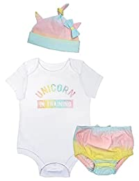 Mini Heroes - Infant Girl's 3PC Unicorn Bodysuit, Hat and Panty Set