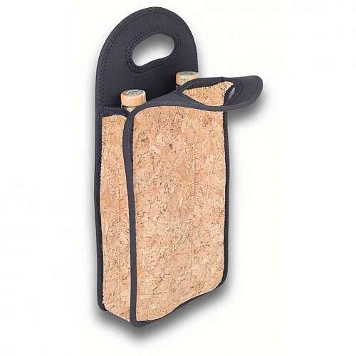 Zees Inc The Cool Sack-Neoprene Np213 Cork Wood Double Wine Bottle Tote, Multicolor (Double Wine Holder)