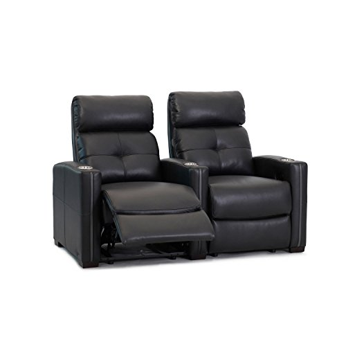 (Octane Seating Cloud XS850 Home Theatre Chairs - Black Bonded Leather - Manual Recline - Straight Row of 2 Seats - Space Saving Design)