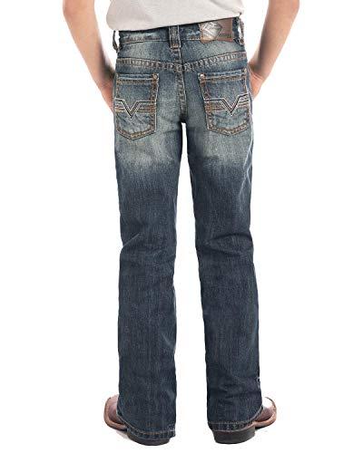 Rock & Roll Cowboy Boys' and Denim Large V Flat Seam Vintage Boot Jeans Blue 16 ()