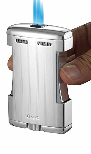 Caseti Sparta Triple Torch Flame Cigar Table Lighter - Chrome Lines (Table Flame Triple)