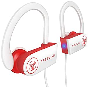 TREBLAB XR100 Bluetooth Sport Headphones, Best Wireless Earbuds for Running Workout, Noise Cancelling Sweatproof Cordless Headset for Gym Use, True Beats Earphones w/ Mic, iPhone Android (White)