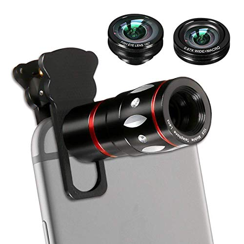 EAGWELL Phone Lens, 4 in 1 Cell Phone Camera Lens Kits with 10X Telescope Lens+Fisheye Lens+Wide-Angle Lens+Macro Lens Compatible Phone and Tablets
