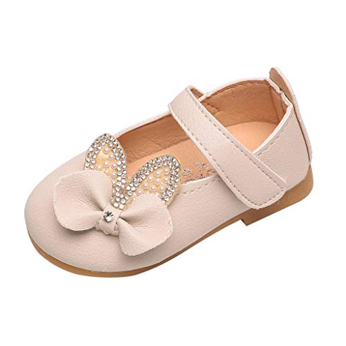 (Huifa Toddler Girls Crystal Bowknot Bling Sandals Princess Infant Kids Baby Shoes (Beige,17) )