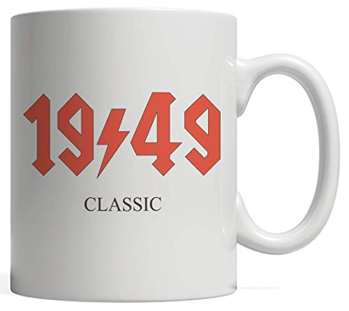 1949 Classic Rock 70th Seventieth Birthday Mug - Funny Great Birth Day Gift Idea For Rocker Or Rock n Roll Music Band Fan Rockers With Seventy Yrs Old Born 70 Years Ago Who Love Musical Vintage Design