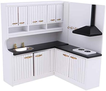 Amazon.es: P Prettyia Mini Armario de Cocina Modelo de Muebles de Madera para Muñecas Escala 1/12: Juguetes y juegos