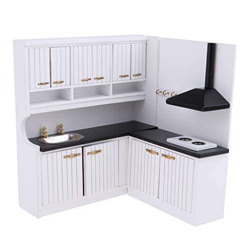 (Prettyia European Style 1/12 Dolls House Kitchen Cupboard Cabinet Kit - Stove Cabinet & Sink Cabinet - Kitchen Dining Room Accessories)