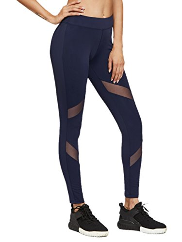 883c571824af27 Galleon - SweatyRocks Women's Stretchy Skinny Sheer Mesh Insert Workout  Leggings Yoga Tights Navy XL
