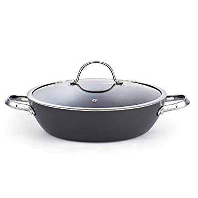 "Cooks Standard 02486 Hard Anodize Nonstick All Purpose Pan with Lid, 12"", Black"