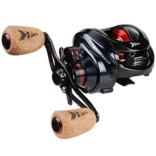 KastKing Spartacus Baitcasting Fishing Reel Ultra Smooth 17.5 LB Carbon Fiber Drag, 6.3 1 Gear Ratio,11 1 Shielded Ball Bearings, Rubber Cork Handle Knobs