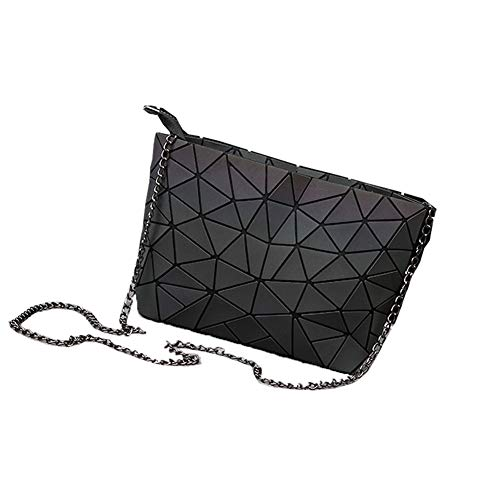JIASD Geometric Cross-Body Messenger Bag Shoulder Bag Evening Hangbag Purse with Metallic Strap For Women(M-1