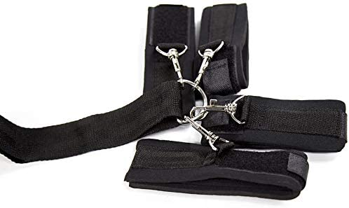 Tcouplesexy Yoga Nylon Handcuffs Black Solid Mouthball Hand-Foot Anti-backcuff Combination Tied Hand Tied Toy