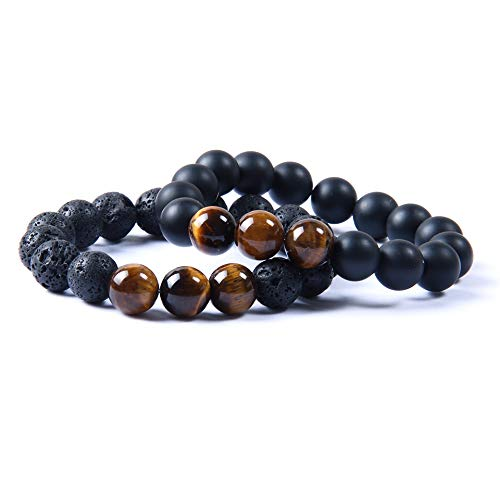 Jewelry 10pcs/lot 12mm Lava Rock & Matte Onyx Stone Beads with Yellow Tiger Eye Stone Lucky Energy Bracelet for Cool Men