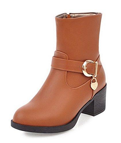 VogueZone009 Damen Rein Blend-Materialien Rund Zehe Reißverschluss Stiefel, Gelb, 33