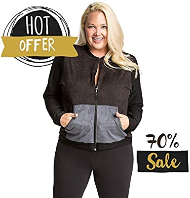 Plus Size Womens Track Jacket in Washable Ultra Suede