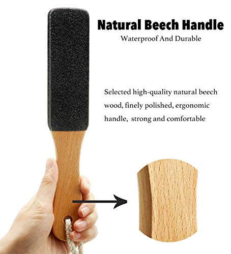 Professional Wooden Foot File, Beech Handle, Double Side Pedicure Scrubber, Remove Dead Skin Calluses Rough Skin (Straight)
