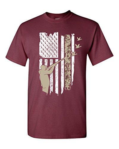 Hunting Flag Gun Rifle Hunt Duck American Flag USA Adult DT T-Shirt Tee (Large, Maroon)