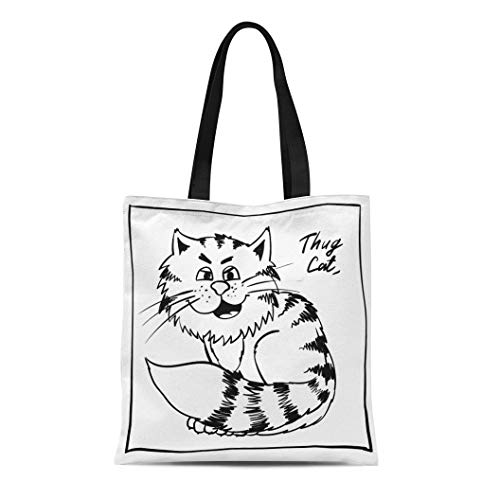 Semtomn Canvas Tote Bag Shoulder Bags Super Thug Kitty Holiday Rest Infantile Outline Sketch Cat Women's Handle Shoulder Tote Shopper Handbag