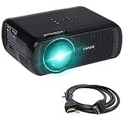 Beamer, Crenova XPE460 Beamer Weihnachten Neujahr Geschenk 1200 Lumens 800*480 Auflösung Augenschutz inklusive HDMI Kabel - Schwarz