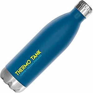 Thermo Tank Insulated Stainless Steel Water Bottle - Ice Cold 36 Hours! Vacuum + Copper Technology - 25 Ounce (Nautical Blue, 25oz)