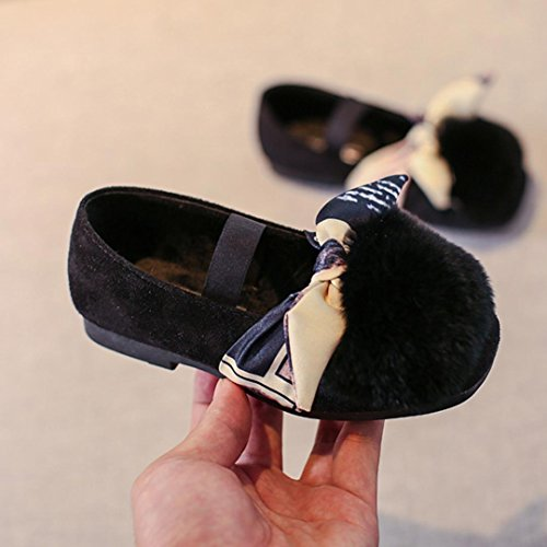 Omiky® Kleinkind Kinder MädchenFluffy Kunstpelz Prinzessin SingleShoes Kinder Baby Sneaker Schwarz
