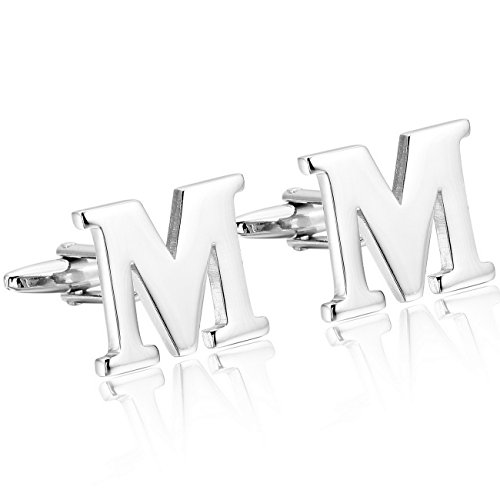 (MOWOM Silver Tone 2PCS Rhodium Plated Cufflinks Initial Letter Capital Alphabet M Shirt Wedding)