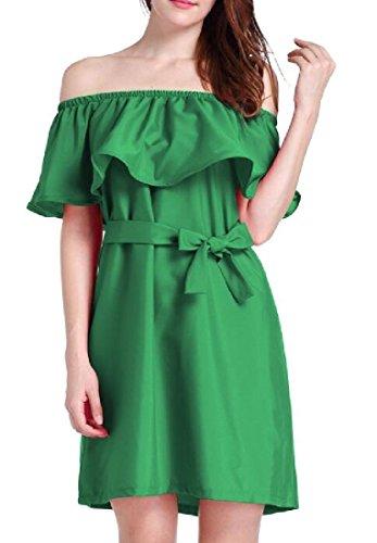 Underskirts Off Green Pure Flouncing Shoulder Color Women Dress Coolred 6qWRx545
