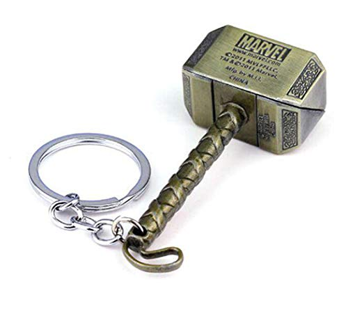 Thor's Hammer Keychain Metal Alloy Marvel Superhero Movie Key Chain U.S. Seller (Gold)]()
