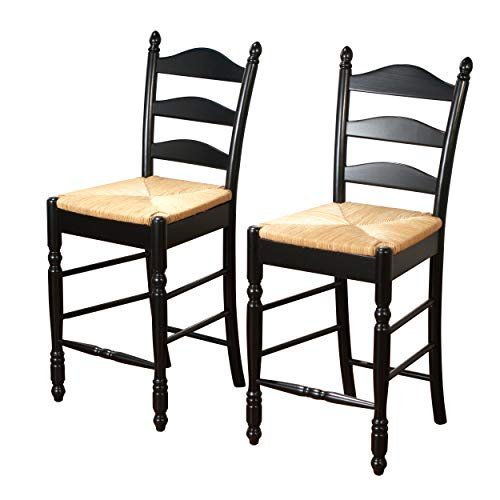 - Target Marketing Systems 24-Inch Set of 2 Ladder Back Stools with Rush Seats and Turned Legs, Set of 2, Black