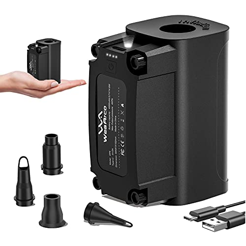 Mini Electric Air Pump for Outdoor Inflatables, USB Rechargeable 300L/Min Inflator Deflators, Wireless Camping Blower, for Air Mattress Beds, Swimming Ring, Toy Raft, Vacuum storage bags