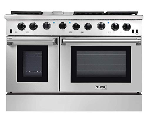 Thor Kitchen 48″ Freestanding Professional Gas Range with 6 Burners Cooktop, 1 Griddle and 6.8 cu.ft Oven – Stainless Steel -With LP Conversion Kit