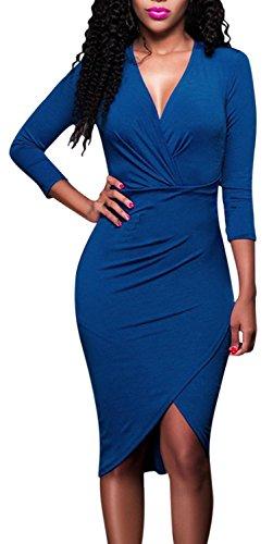 IF FEEL Womens Plus Size Casual Deep V 3/4 Sleeve Slim Waist Midi Dress ((US 16-18)XL, Blue)