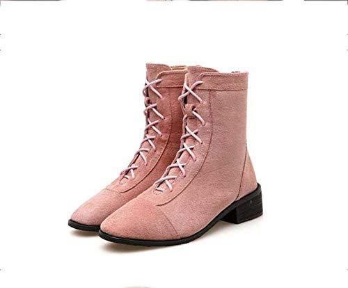 5 Tamaño 40 3 La Pie Cuadrado 35 Casual Grueso Mujeres Botas Cortas Sheos Tacón De Pink Eu Cm Martin Cruz Correa CtwqxS