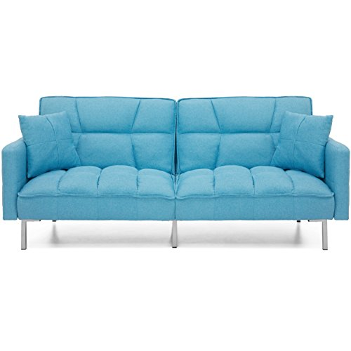 Best Choice Products Living Room Convertible Linen Fabric Tufted Splitback Futon Couch Furniture w/Pillows - (Blue Futon Sofa Bed)
