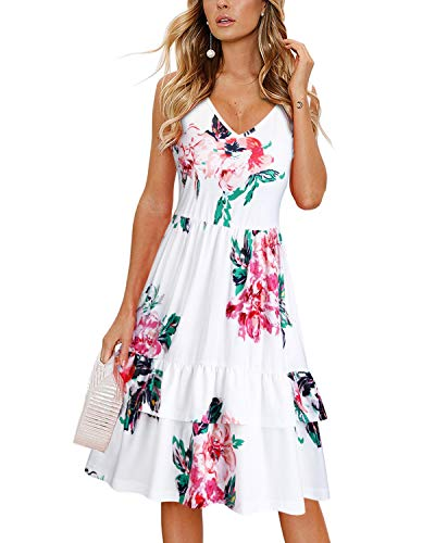 OUGES Women's Summer V Neck Floral Sleeveless Ruffle Swing Casual Short Dress with Pockets(Floral04,XL)