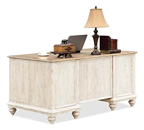 Coventry Two Tone Executive Desk w Drawers (Weathered Driftwood & Dover White) by Riverside Furniture (Image #2)