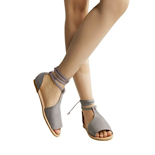 haoricu Womens Open Toe Espadrille Ankle Strap Boho Lace-Up Beach Sandals Breathable Rome Casual Flat Shoes Gray