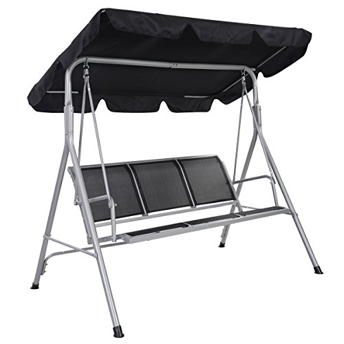 Costway Outdoor Swing Chair 3 Seater Garden Luxury Hammocks Swinging Bench Seat (Black)