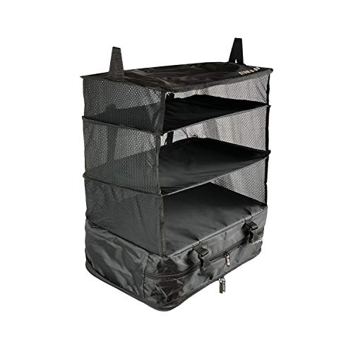 Stow-N-Go Portable Luggage System Suitcase Organizer - Large, BLACK, Packable Hanging Travel Shelves & Packing Cube Organizer