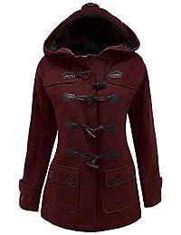 Womens Classic Pea Coat Jacket Wool Blended Plus Size Hoodie Outwear