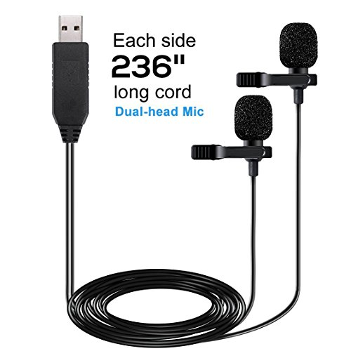 USB Microphone 236 (6m) Dual Head Lavalier Lapel Mic Professional Clip-on Shirt Omnidirectional Condenser Microphones for Computer PC,Laptop,Recording Youtube,Interview,Video Conference,Podcast