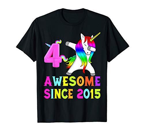 4th Bday Girl And Awesome Since 2015 Unicorn Dabbing TShirt ()