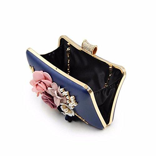 sacoche 2018 brodés golden pearl banquet garnis Blue pochette nouvelle perle sac fleur high robe diamond sac grade rx4qr6w