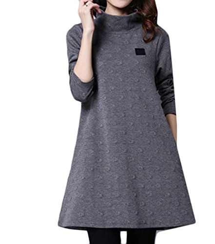 Comfy Line Dress High A Neck Solid Womens Quilted Pullover Pattern2 Oversized 8zqU8rw