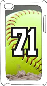 Softball Sports Fan Player Number 71 White Plastic Decorative iPod iTouch 4th Generation Case